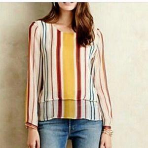 MAEVE Anthro Silk Tiered Striped Top, Medium
